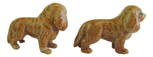 Cavalier King Charles Spaniel Set//2 Ruby Miniature Porcelain Dog figurine