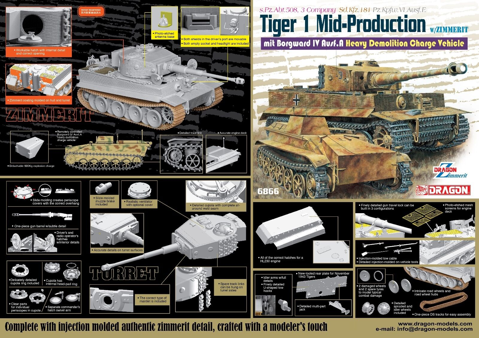 1 35 Dragon Tiger I Mid-Prod w Zim mit Borgward IV Ausf.A Heavy Demo Veh
