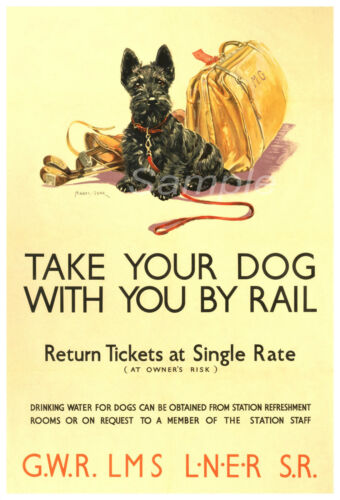 VINTAGE BRITISH RAILWAYS TAKE YOUR DOG BY RAIL A2 POSTER PRINT