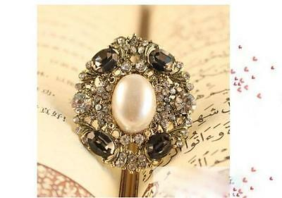 New Fashion Retro Simulated Pearl Shiny Rhinestone Ring Resizable Women UK