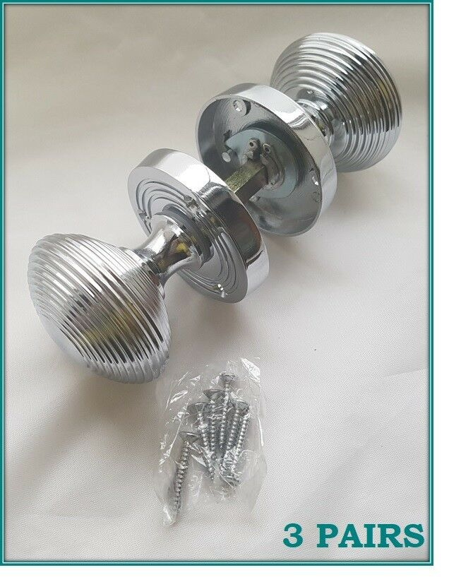1-10 SETS CHROME CHROME CHROME BEEHIVE Rimmed Queen Anne Ribbed Internal Door Handle Knobs D30 4815aa