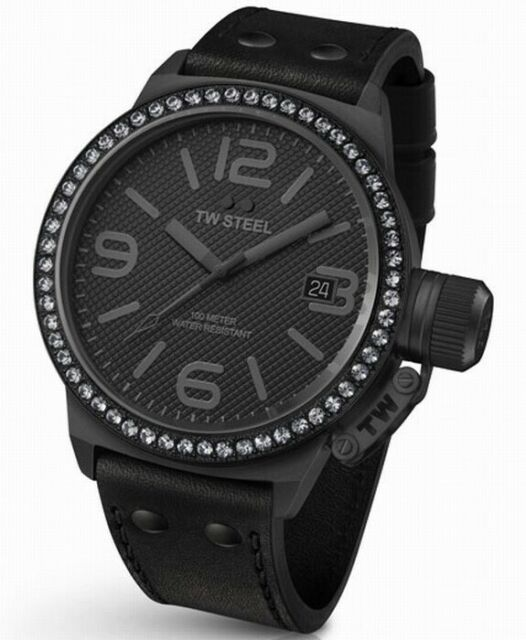TW Steel Unisex TW912 Canteen 45mm Crystal Leather Black Watch