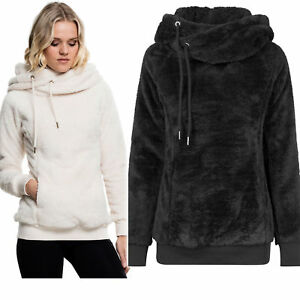 cheap for discount 6d7de 535f8 Dettagli su URBAN CLASSICS Maglia Felpa lunga donna peluche Ladies Long  Teddy Hoody TB1752