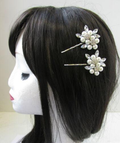 2 x Silver /& White Pearl Rhinestone Flower Hair Clips Bridal Vintage Pins V28