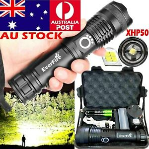 High-Power-900000Lumens-XHP50-Zoom-Flashlight-LED-Rechargeable-Torch-Headlamp-AU