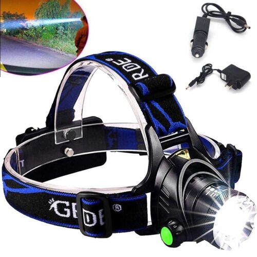 Tactical Flashlight 50000LM Zoom T6 LED Light Headlight Headlamp Torch+Charger ♢