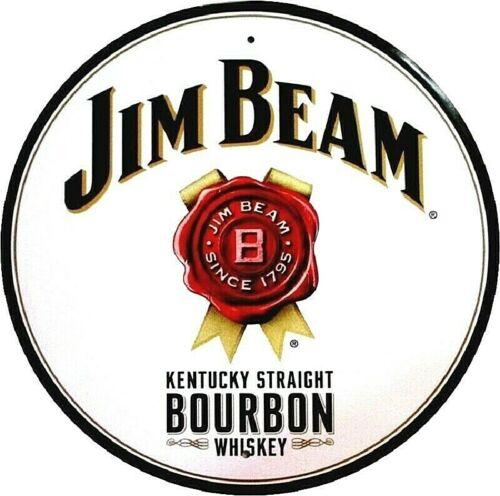 JIM BEAM KENTUCKY STRAIGHT BOURBON WHISKEY ROUND METAL SIGN