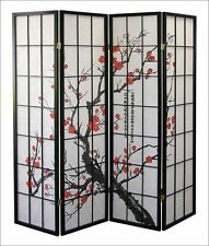 1110 4 Legacy Decor Oriental Room Divider Screen Plum Blossom Privacy Furniture Wooden Deco Folding