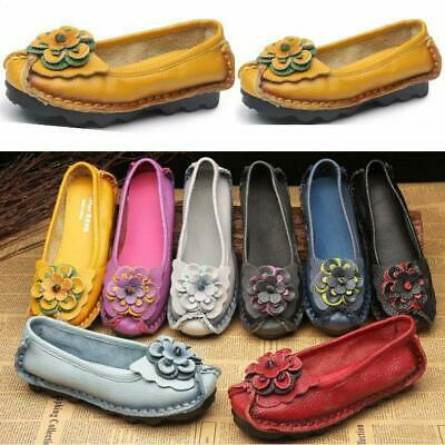 Women/'s Leather Flats Slip On Oxfords Big Flower Loafers Casual Driving Shoes