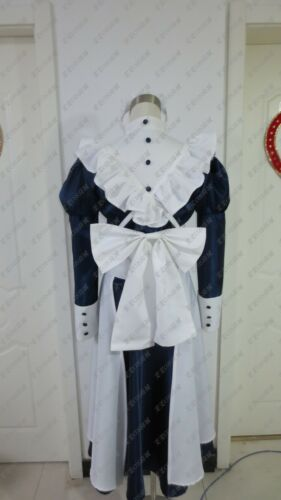 Black Butler Mey Rin Maid Cosplay Costume Outfit Headdress Dress Apron Bow