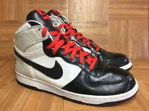 detailed look bfd7e f92d6 Image is loading RARE-Nike-Big-Nike-High-White-Black-Leather-