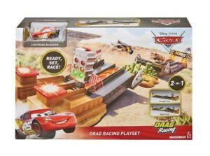 Disney-Pixar-034-Cars-034-XRS-Drag-Racing-Playset-amp-XRS-Rayo-Mcqueen-Vehiculo-de-juguete