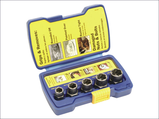 IRWIN IRW10504634 Bolt Grip Fastener Remover Base Set of 5 in case       * NEW *