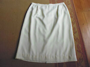 LADIES-CREAM-PALE-YELLOW-LINED-POLYESTER-STRAIGHT-PENCIL-SKIRT-BY-GBS-SIZE-16