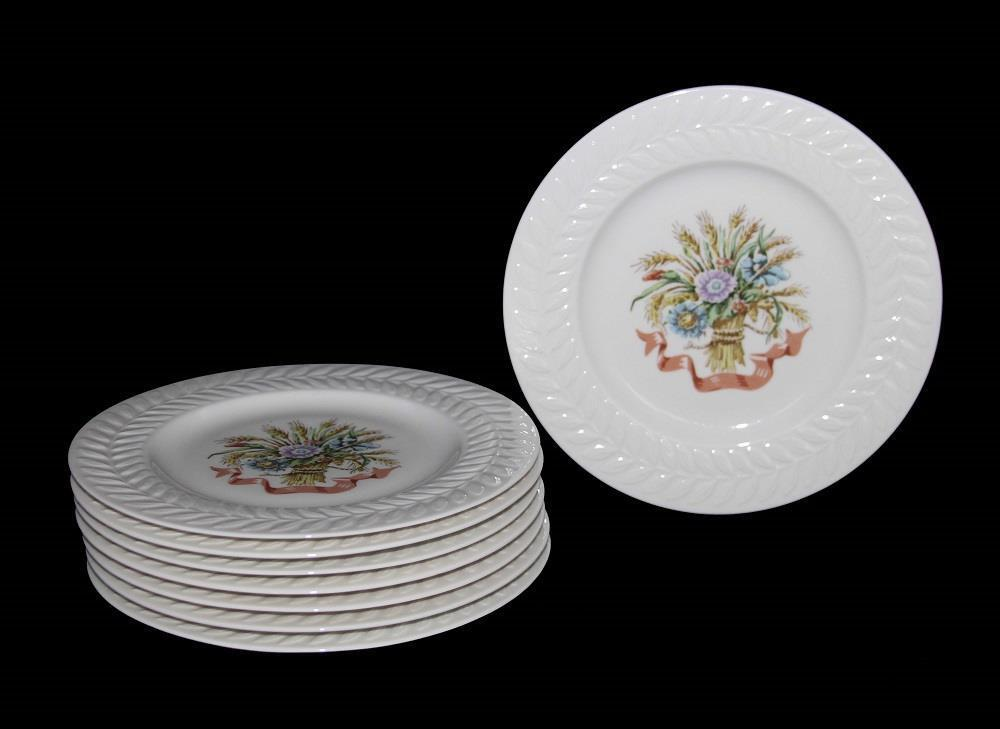8 Haviland MOUNT VERNON Salad Plates Plates Plates Floral Bushels Embossed Leaves Border 70774c