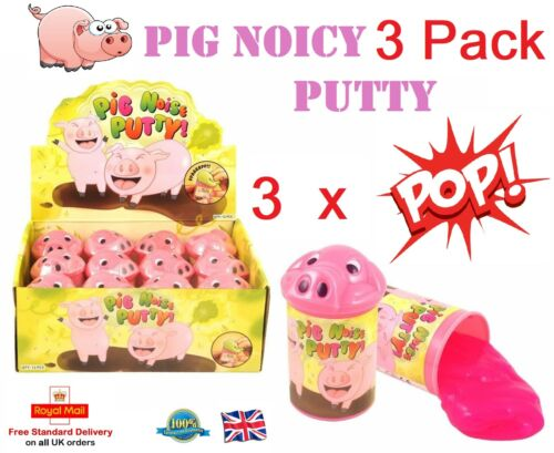 3 x PIG NOISE PUTTY TUBS Silly Jokes Toy Tricks Fart Noisy Party Bag Filler Toys