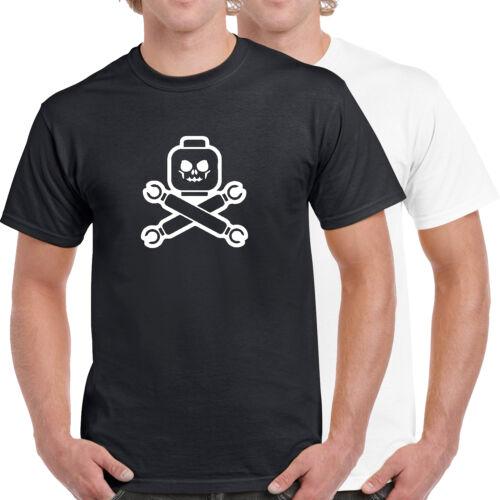 Lego Piraten Kopf Schädel /& Gekreuzte Knochen 100/% Baumwolle T-Shirt