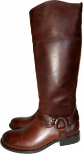 Frye-Melissa-Harness-Side-Zip-Tall-Boots-Brown-Leather-Riding-Biker-Booties-6-5