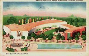 New York World's Fair 1939 Medicine Public Health Science Education NY Postcard