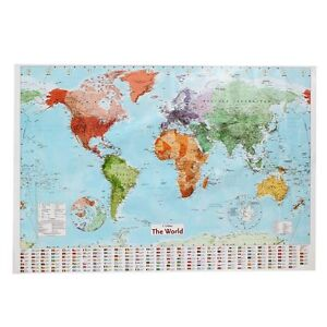 Large Map Of The World Poster with Country Flags Wall Chart Home Date Version