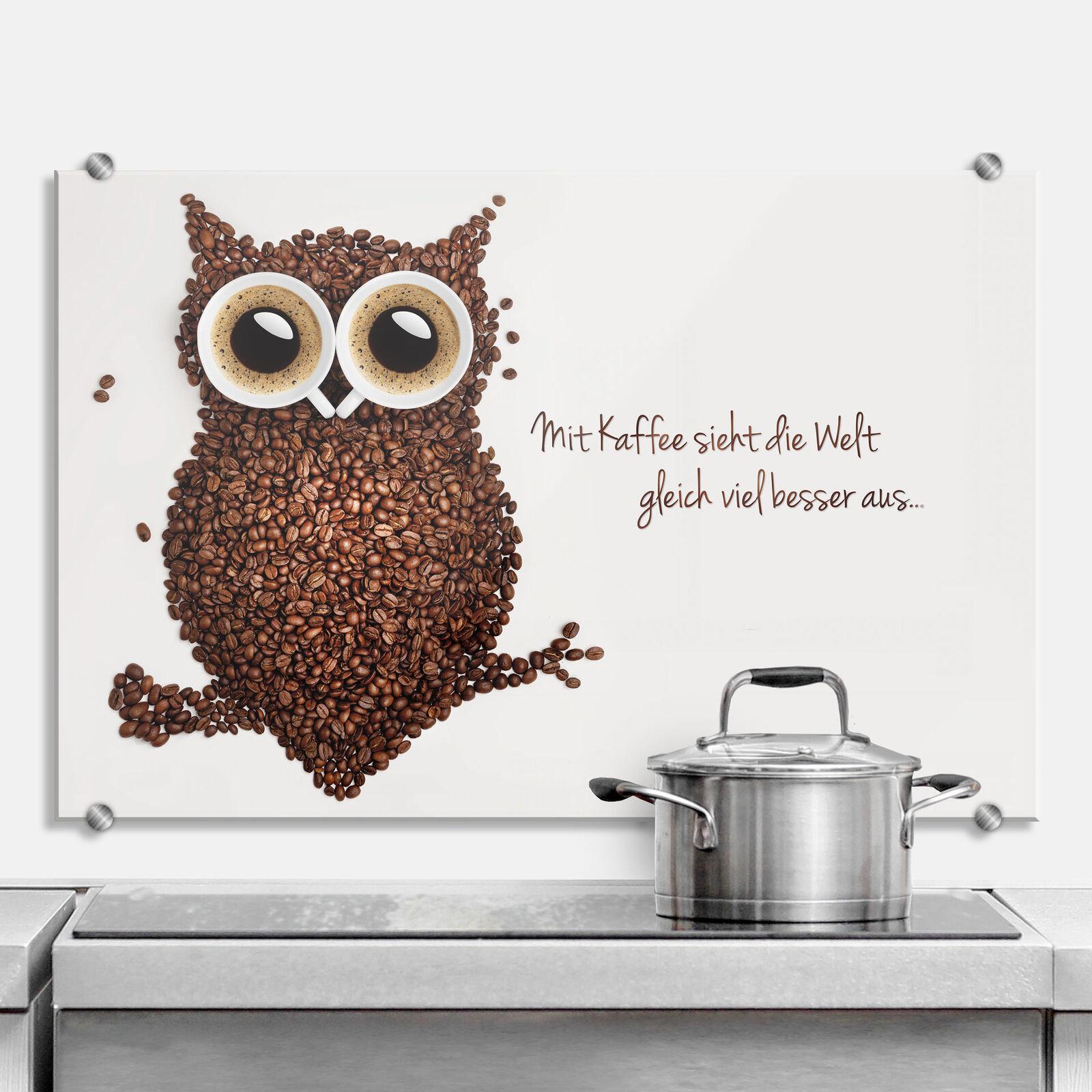 Glas Küchenrückwand Mit Kaffee sieht die Welt gleich viel besser aus braun