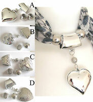 SCARF HEART PENDANT & 2 BEADS ACCESSORY CLIP RING HOLDER BROOCH JEWELLERY TUBES