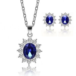 Details About Fashion Blue Shire Crystal Costume Jewelry Sets Snowflake Necklace Earrings