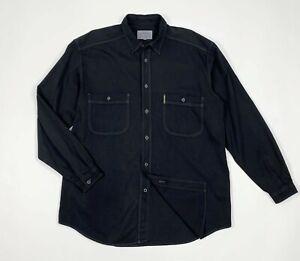 armani-jeans-camicia-uomo-usato-M-shirt-black-used-nero-manica-lunga-relax-T5861