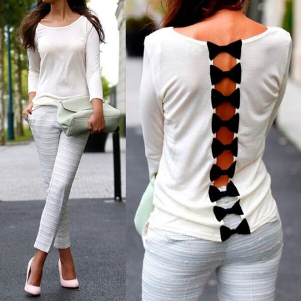 Fashion Womens Girls Sexy Back Bow Casual Long Sleeve Pure Blouse T-Shirt Tops