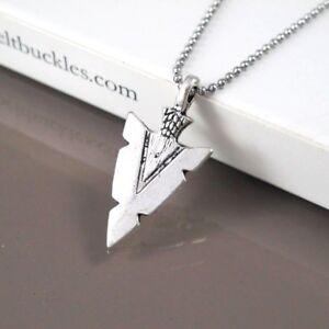 "Silver Alloy Native American Spear Arrow Head Pendant 24/"" Mens Necklace Chain"