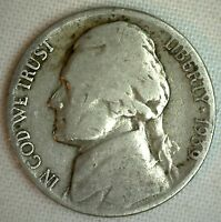 1939 D Jefferson Nickel Fine Circulated Coin 5 Cents F #R1