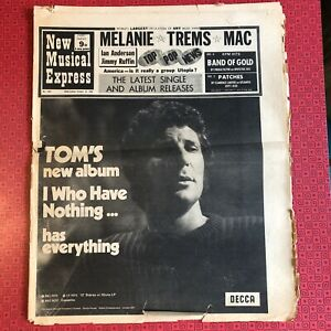 NME New Musical Express 31 Oct '70 - some damage but complete. Tom Jones, Jethro