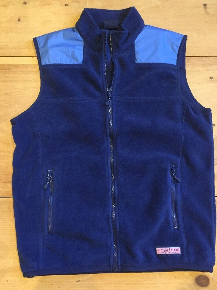 Vineyard Vines Fleece Mooring Vest Size S Small Deep Bay bluee New