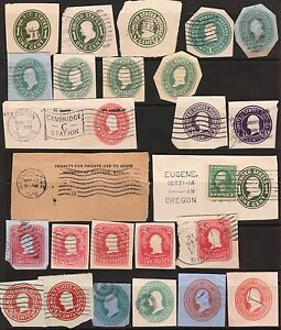 25-US-USA-Postage-Cancels-Stempels-Stamps-from-ENVELOPES-WRAPPERS-Collection