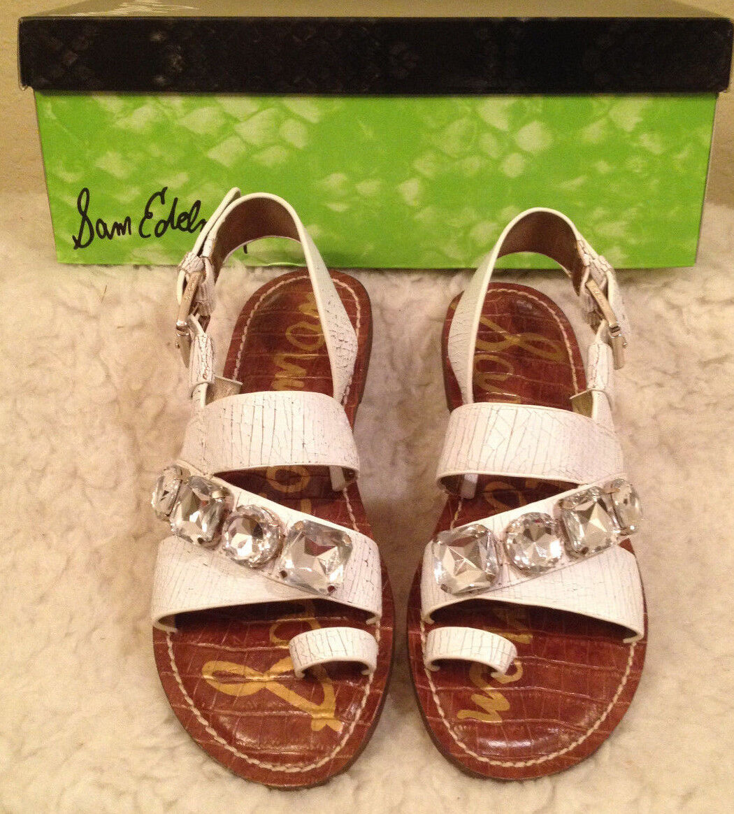 NIB  130 Sam Edelman WHITE CRACKLED RHINESTONE Gladiator Sandals Womens 6 M