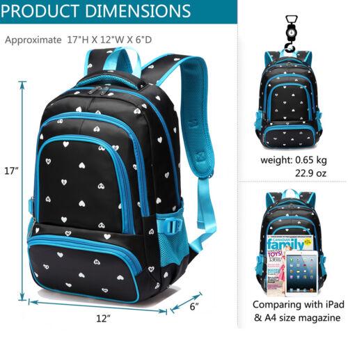 Heart Girls School Bag Nylon Backpack Shoulder Bookbag Kid Travel Child Rucksack