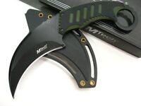 Mtech Tactical Black Green G-10 Full Tang Neck Boot Karambit Knife + Sheath