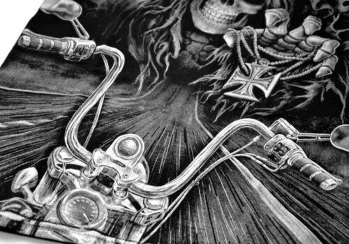 Mens T-shirt Black Short Sleeve Skull Death Harley Hardcore Chopper Route 66