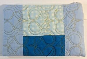 Handmade-Quilted-Bag-Clutch-9-1-2-034-X-6-1-2-034-Zipper-Blue-amp-White