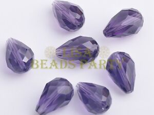 10pcs-15X10mm-Teardrop-Faceted-Crystal-Glass-Loose-Spacer-Beads-Bluish-Violet