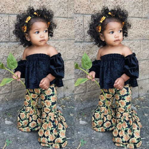 2PCS Kids Toddler Baby Girl Off-shoulder Tops Shirt+Bell-Bottoms Flared Pants US