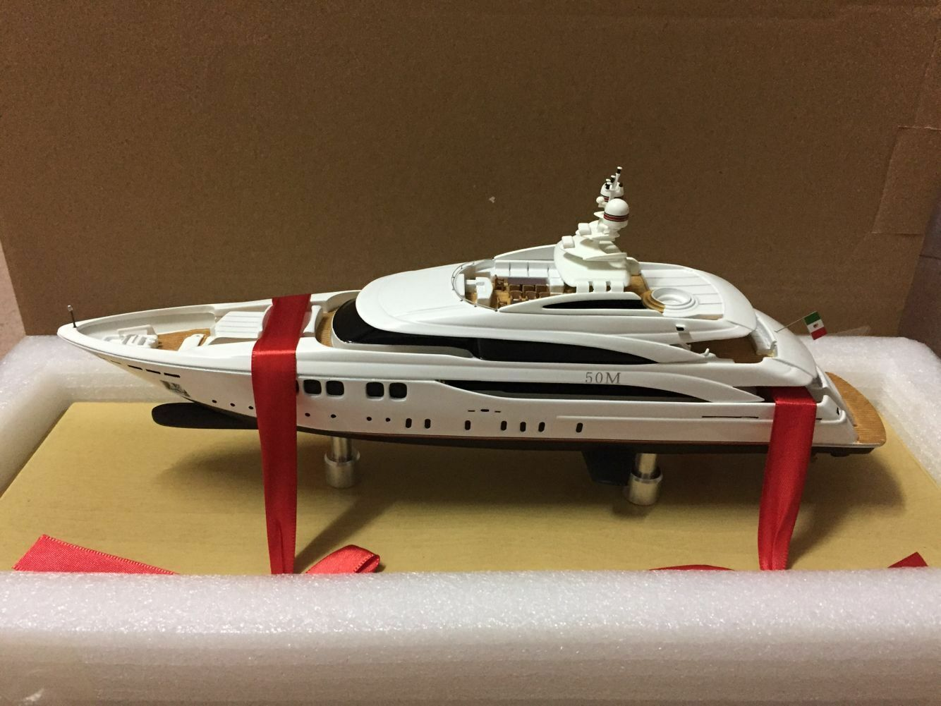 Handcrafted Yacht Boat Model White 1 160 Scale Resin Model