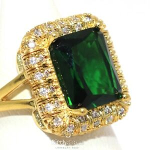 Large-5CT-Cushion-Green-Emerald-Halo-Ring-Women-Jewelry-14K-Yellow-Gold-Plated