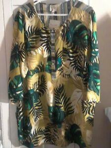 NEW-2X-ANTHROPOLOGIE-FIG-amp-FLOWER-Jungle-Floral-PEASANT-Blouse-TOP-Tunic-Plus