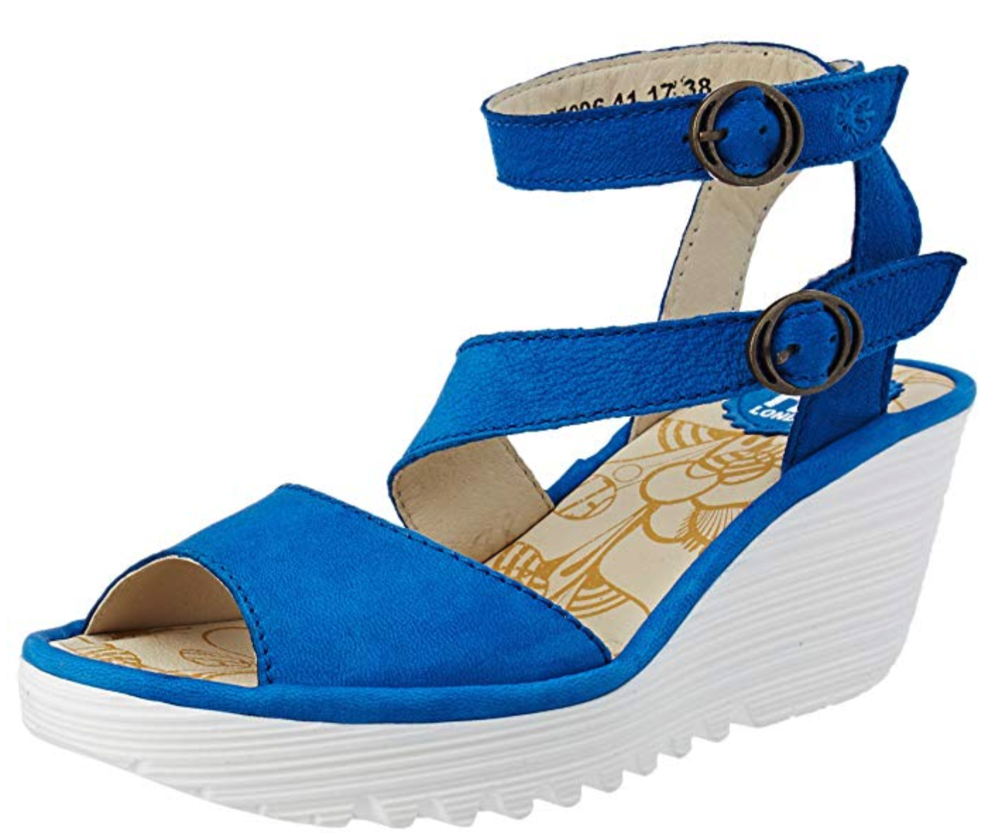 Fly London Yisk Electric bluee Leather Ankle Strap Wedge Sandals EU 38 39 40 41