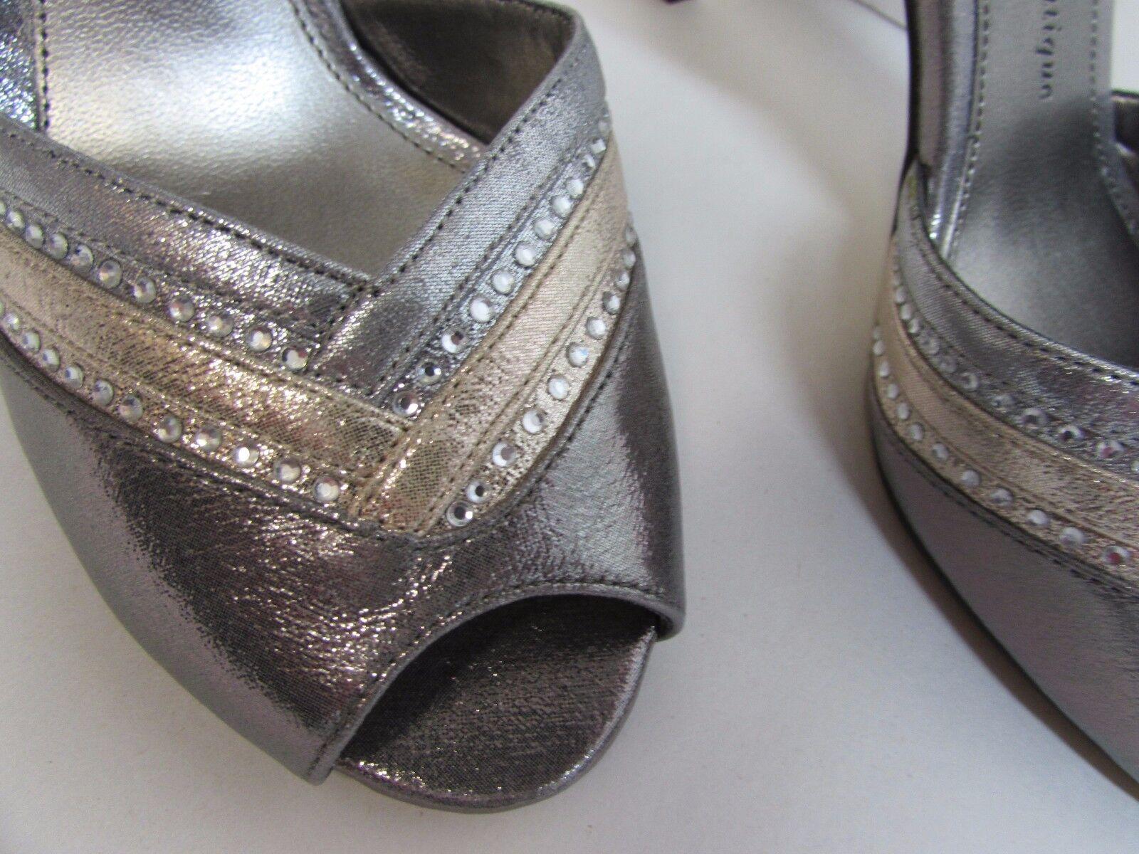 Adrianna Papell Größe 8 Dark Silver Leder Open Toe Heels NEU Damenschuhe Schuhes