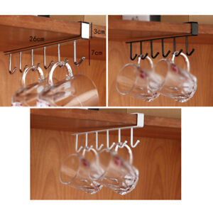 Iron-6-Hook-Under-Shelf-Mug-Cup-Cupboard-Kitchen-Organiser-Hanging-Holder-1X