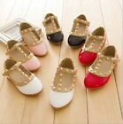 New Fashion Toddler Princess Girls Kids Sandals Rivet Buckle T-strap Flat Shoes