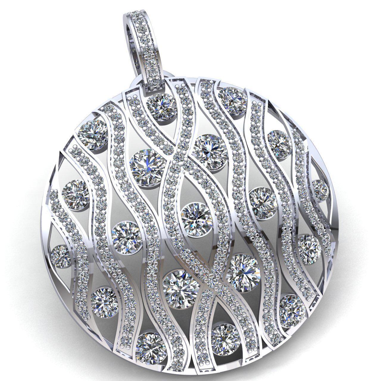 Genuine 7ct Round Cut Diamond Ladies Wavy Bar Trellis Circle Pendant 14K gold