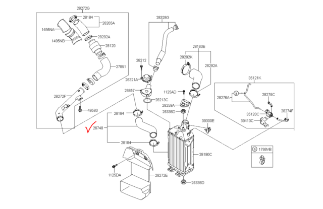 Hyundai Veloster KIA Forte Intercooler Hose Turbocharger